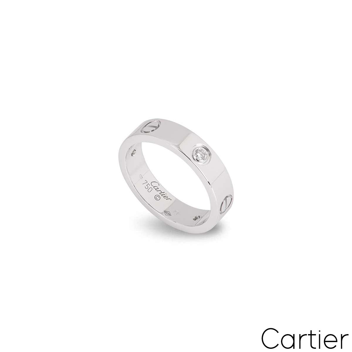 Cartier White Gold Half Diamond Love Ring Size 54 B4032500